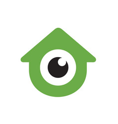 logo home combined with glossy eyes design vector image