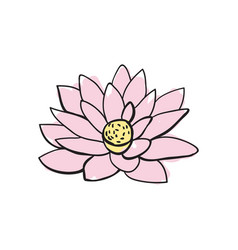 Lotus flower hand drawn icon vector