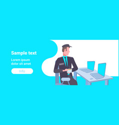 male security guard worker looking laptop screen vector image
