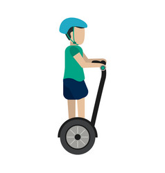 man on self balancing two wheel scooter wit vector image