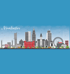 Manchester skyline with gray buildings and blue vector