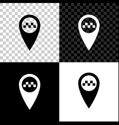 map pointer with taxi icon isolated on black vector image