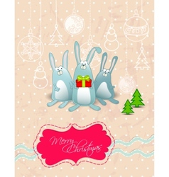 merry christmas card with rabbits frame vector image vector image
