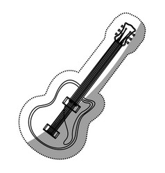 Monochrome contour silhouette with electric guitar vector