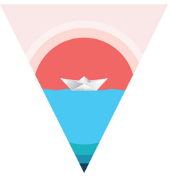 paper boat in the sea vector image