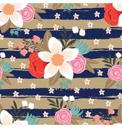 pattern with flowers and strips vector image