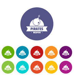pirate bomb icons set color vector image