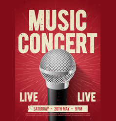 poster with microphone for concert live music vector image