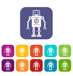 Retro robot icons set flat vector