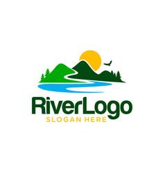 river mountain logo design template vector image