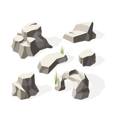 rocks isometric gray stones for wall construction vector image