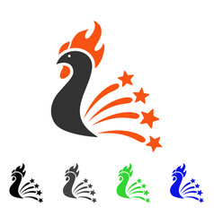 Rooster fireworks flat icon vector
