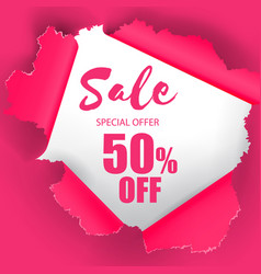 sale special offer 50 off hole in pink paper back vector image