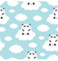 seamless pattern panda bear face holding cloud in vector image