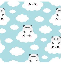 seamless pattern panda bear face holding cloud vector image