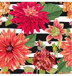 Seamless pattern with red asters flowers floral vector