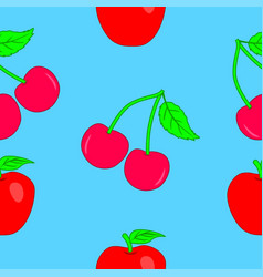 seamless texture of apples and cherries vector image