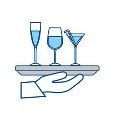 serving cocktails symbol vector image