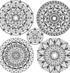 Set mandalas with geometric patterns vector image