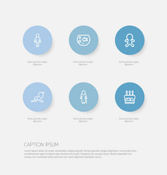 Set of 6 editable folks outline icons includes vector