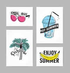 set of hand drawn cards with lettering vector image