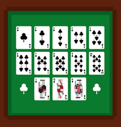 set of poker playing cards of club suit on green vector image