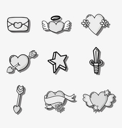 set valentines day patches design vector image