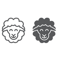 sheep line and glyph icon animal and rural lamb vector image