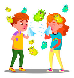 Sneezing boy and girl surrounded by flying vector