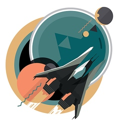 Spacecraft spaceship in space planet vector image