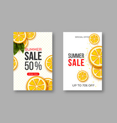 summer sale banners with sliced orange pieces vector image