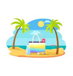 summertime with bag full of spf cream vector image
