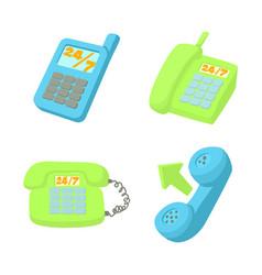 telephone icon set cartoon style vector image