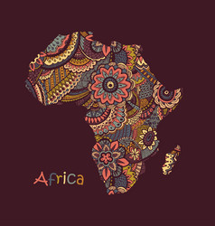 Textured map africa hand drawn ethno vector