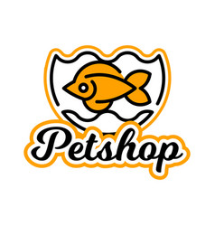 The logo on the theme of shop for pets fish vector