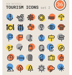 tourism bold linear icons vector image