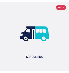 Two color school bus icon from education concept vector