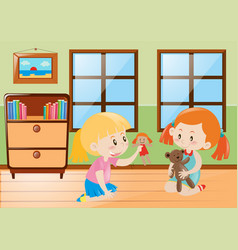 Two girls playing dolls in the room vector