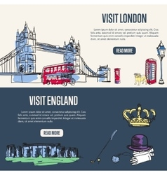 Visiting England and London Touristic Web Banners vector