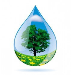 water drop with a landscape vector image