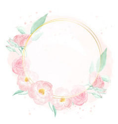 watercolor pink wild rose with golden frame vector image
