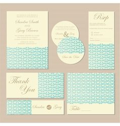 wedding cards blue vector image