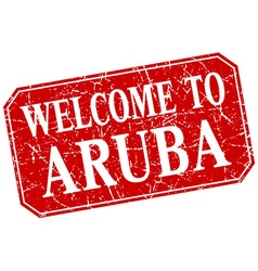 Welcome to Aruba red square grunge stamp vector