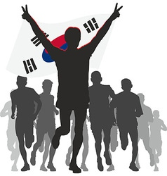 Winner with the South Korea flag at the finish vector
