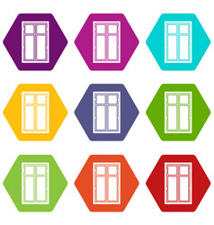wooden window icon set color hexahedron vector image