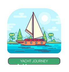 yacht or ship boat travel at sea or ocean vector image
