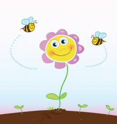 bees and flower vector image vector image