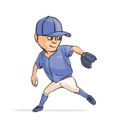 cartoon baseball player vector image vector image