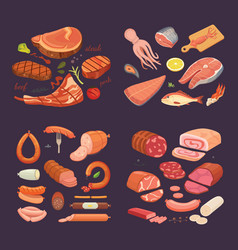 collection of different meat product set cartoon vector image