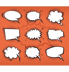 Comic speech bubbles funny balloons with halftone vector image vector image